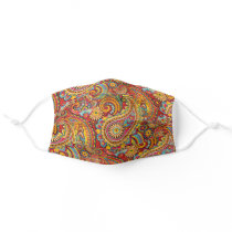 Cute Red Orange Turquoise Blue Floral Paisley Adult Cloth Face Mask