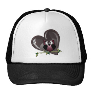 Cute Red Owl and Heart Gifts Trucker Hat