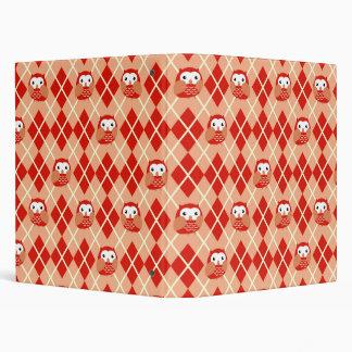 Cute Red Owl Argyle Pattern Binder