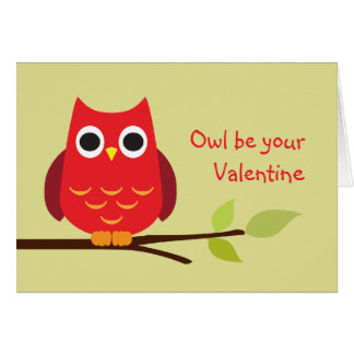 Cute red owl be your valentine adorable card