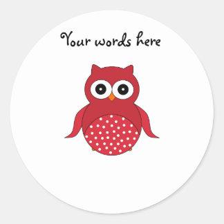 Cute red owl classic round sticker