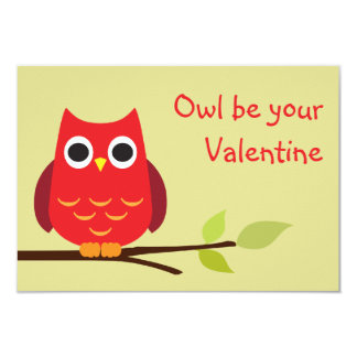Cute red owl classroom valentine exchange for kids 3.5x5 paper invitation card