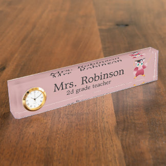 Cute Red Owl Teacher customizable Desk Name Plate
