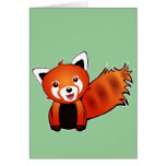Cute red panda animation illustration greeting card