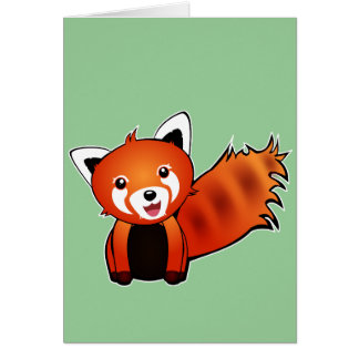 Cute red panda animation illustration greeting card