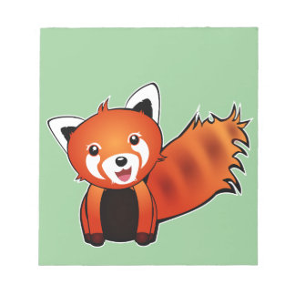 Cute red panda animation illustration memo pads