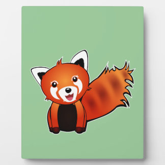 Cute red panda animation illustration plaques