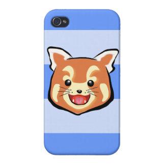 Cute Red Panda  (Blue Stripes) iPhone 4/4S Cases