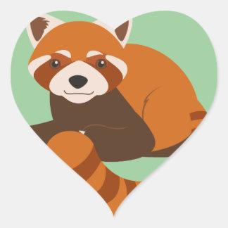 Cute Red Panda Heart Sticker