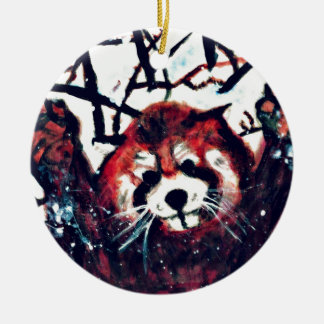 Cute Red Panda Snow Day Ceramic Ornament