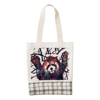 Cute Red Panda Snow Day Heart Tote Bag