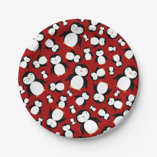 Cute red penguin pattern paper plate