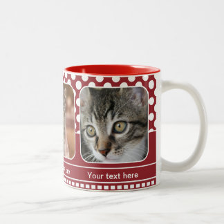 Cute Red Personalized Cat Photo Mug