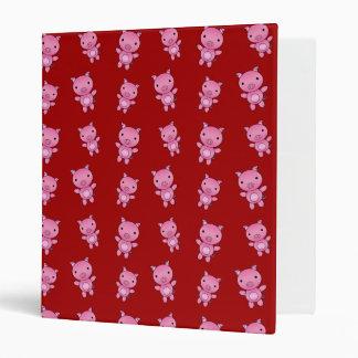 Cute red pig pattern 3 ring binders