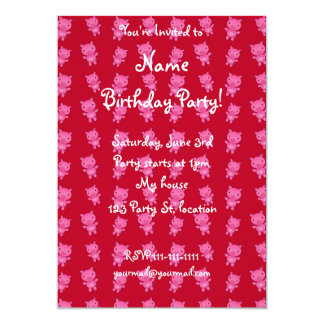 Cute red pig pattern 5x7 paper invitation card