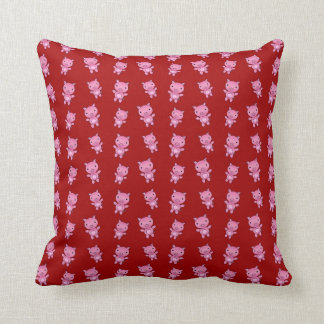 Cute red pig pattern throw pillow