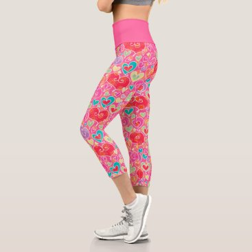 Cute Red Pink Turquoise Whimsical Hearts Pattern Capri Leggings