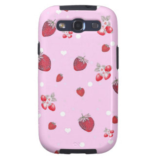 Cute Red Polka Dots Strawberries Fruit Pattern Galaxy SIII Covers