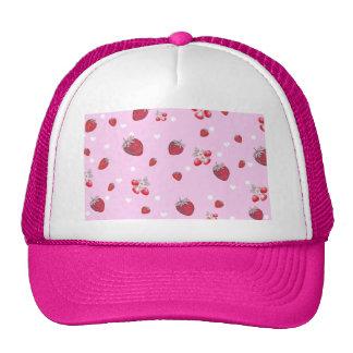 Cute Red Polka Dots Strawberries Fruit Pattern Trucker Hats