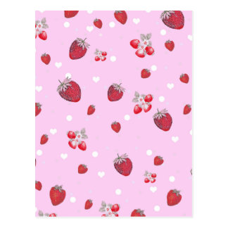 Cute Red Polka Dots Strawberries Fruit Pattern Postcard
