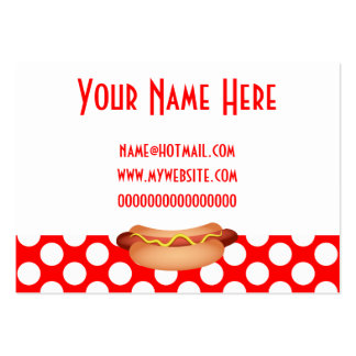 Cute Red Polka Dots & Tasty Hotdog Snack Design Large Business Cards (Pack Of 100)