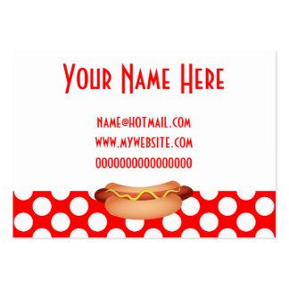 Cute Red Polka Dots & Tasty Hotdog Snack Design Large Business Card