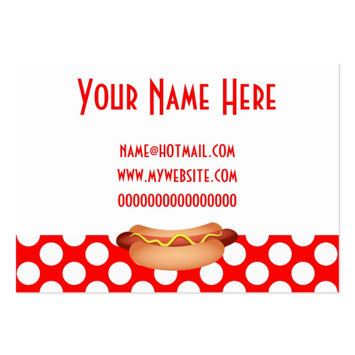 Cute Red Polka Dots & Tasty Hotdog Snack Design Large Business Card