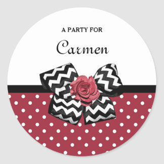 Cute Red Polka Dots With Chevron Rose Bow and Name Classic Round Sticker
