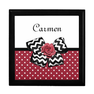 Cute Red Polka Dots With Chevron Rose Bow and Name Keepsake Box