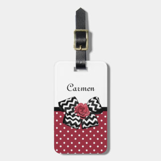 Cute Red Polka Dots With Chevron Rose Bow and Name Luggage Tag