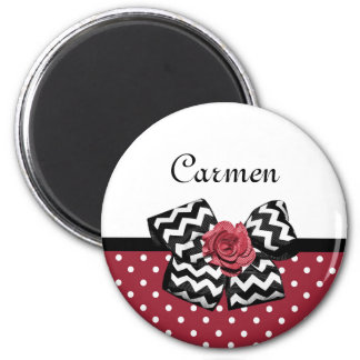 Cute Red Polka Dots With Chevron Rose Bow and Name Magnet