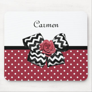 Cute Red Polka Dots With Chevron Rose Bow and Name Mouse Pad