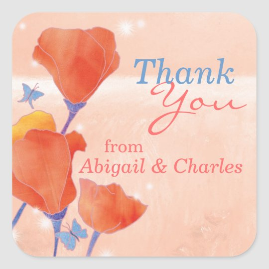 Cute Red Poppy Wedding Thank You Square Sticker