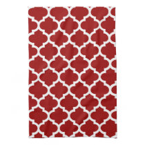 cute red quatrefoil towels