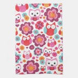 Cute red retro bird owl love pattern kitchen towel
