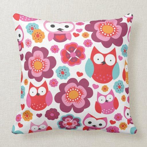 Cute Owl Pillow Pattern : Cute red retro bird owl love pattern pillow case Zazzle