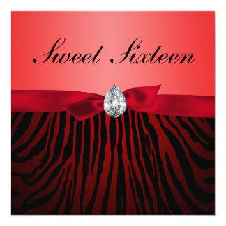 Cute Red Ribbon Gem Zebra Pattern Sweet Sixteen Card