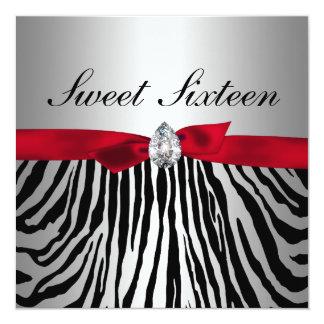Cute Red Ribbon Silver Zebra Pattern Sweet Sixteen Card