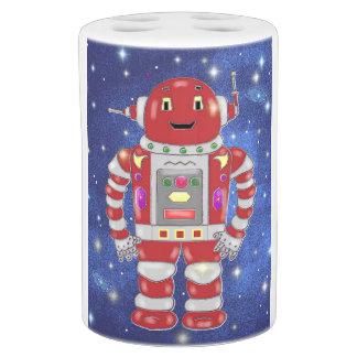 Cute Red Robot Bath Set