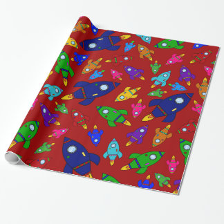 Cute red rocket ships pattern wrapping paper
