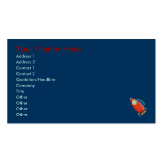 Cute Red Rocket & Stars Business Cards