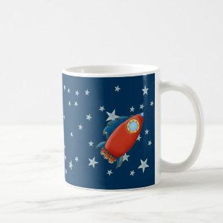 Cute Red Rocket & Stars Mugs