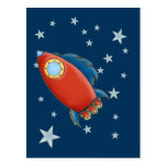 Cute Red Rocket & Stars Postcards