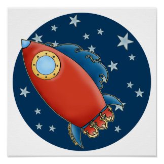 Cute Red Rocket & Stars Posters
