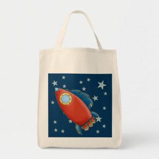 Cute Red Rocket & stars Tote Bags