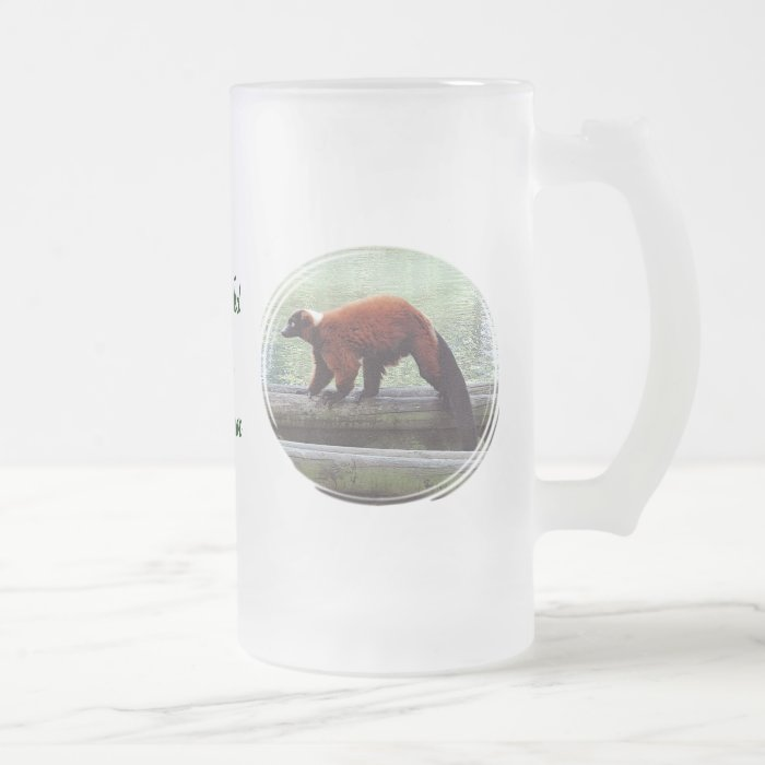 Cute Red-Ruffed Lemur Red Fur Drinks Glass Frosted Glass Beer Mug