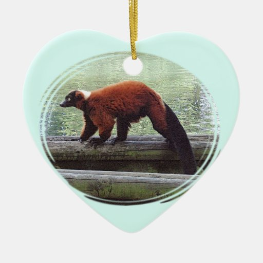 Cute Red-Ruffed Lemur Red Fur White Neck Christmas Ornaments