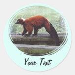 Cute Red-Ruffed Lemur Red Fur White Neck Round Sticker
