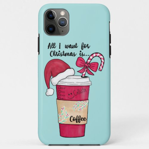 Cute Red Santa Hat Coffee Candy Cane Christmas iPhone 11 Pro Max Case