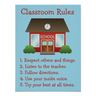 Cute Red School Building Custom Classroom Rules Poster
